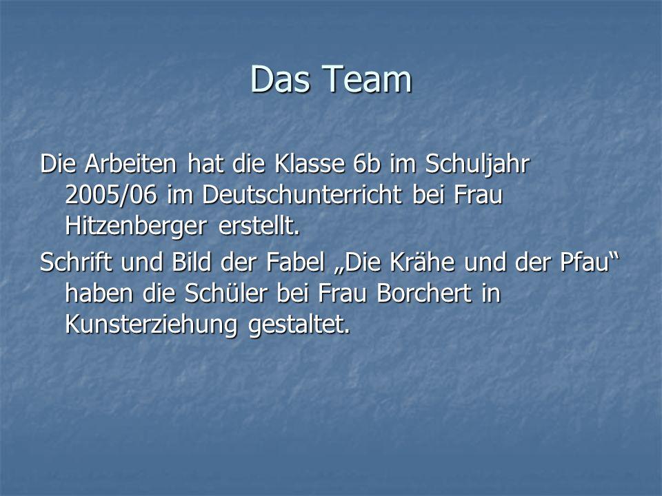 Das Team Die Arbeiten hat die Klasse 6b im Schuljahr 2005/06 im Deutschunterricht bei Frau Hitzenberger erstellt. Schrift und Bild der Fabel Die Krähe