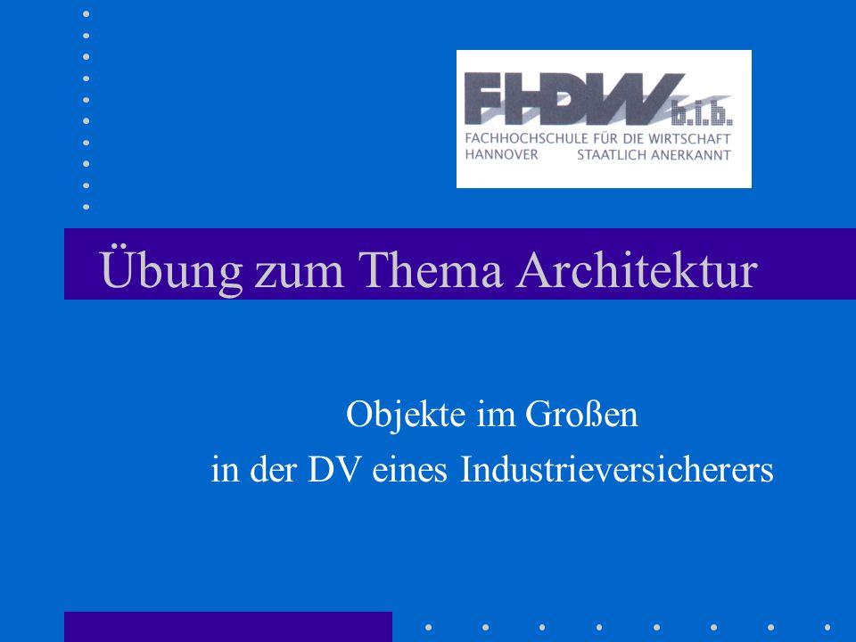Übung zum Thema Architektur Objekte im Großen in der DV eines Industrieversicherers