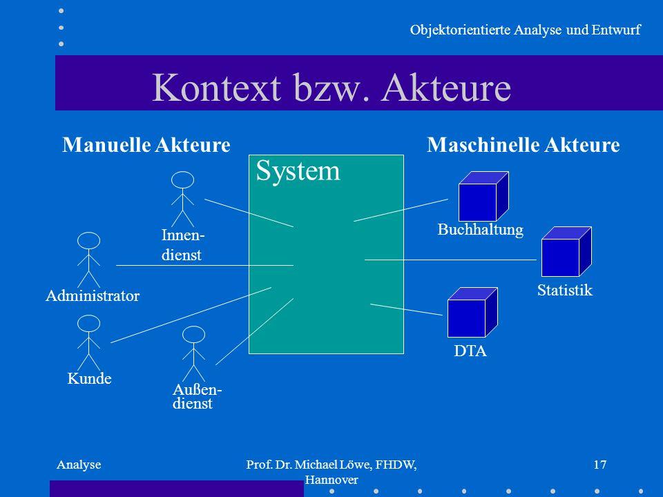 Objektorientierte Analyse und Entwurf AnalyseProf. Dr. Michael Löwe, FHDW, Hannover 17 Kontext bzw. Akteure System Manuelle AkteureMaschinelle Akteure