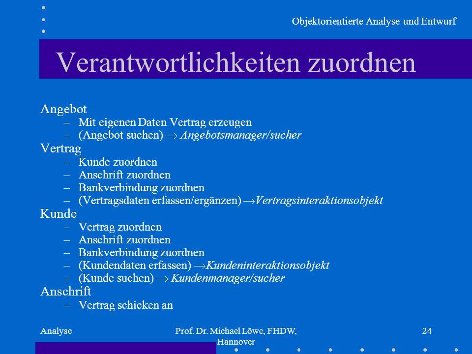Objektorientierte Analyse und Entwurf AnalyseProf. Dr. Michael Löwe, FHDW, Hannover 24 Verantwortlichkeiten zuordnen Angebot –Mit eigenen Daten Vertra