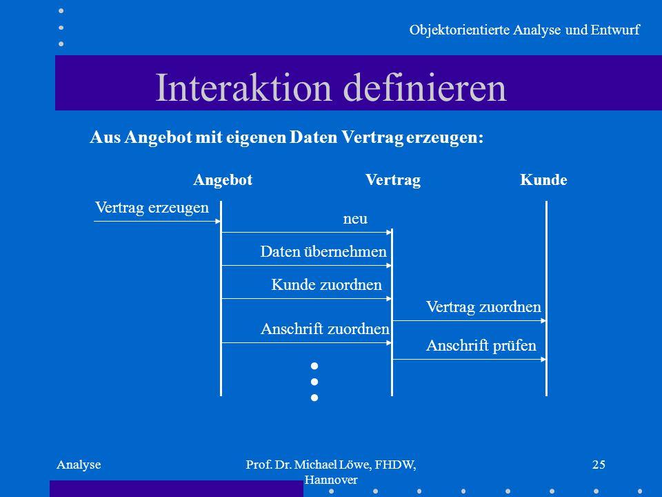Objektorientierte Analyse und Entwurf AnalyseProf. Dr. Michael Löwe, FHDW, Hannover 25 Interaktion definieren Aus Angebot mit eigenen Daten Vertrag er