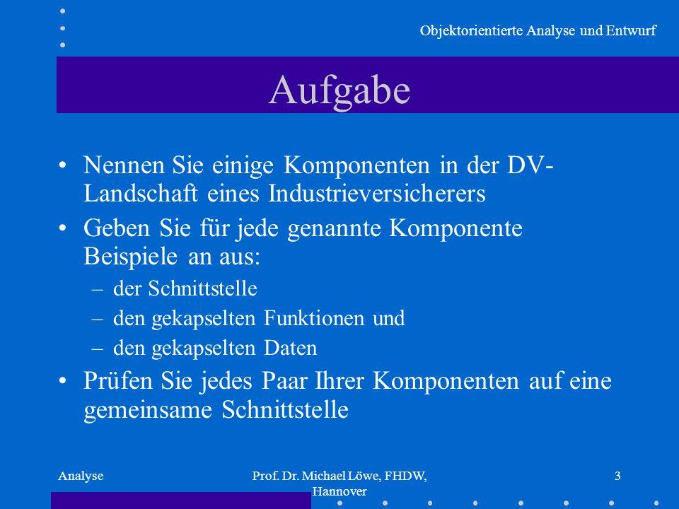 Objektorientierte Analyse und Entwurf AnalyseProf. Dr. Michael Löwe, FHDW, Hannover 3 Aufgabe Nennen Sie einige Komponenten in der DV- Landschaft eine