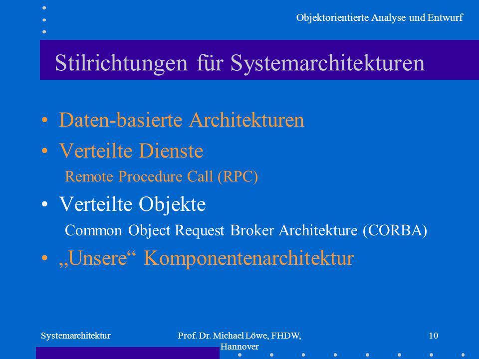 Objektorientierte Analyse und Entwurf SystemarchitekturProf. Dr. Michael Löwe, FHDW, Hannover 10 Stilrichtungen für Systemarchitekturen Daten-basierte
