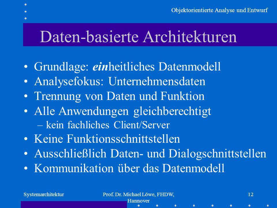 Objektorientierte Analyse und Entwurf SystemarchitekturProf. Dr. Michael Löwe, FHDW, Hannover 12 Daten-basierte Architekturen Grundlage: einheitliches
