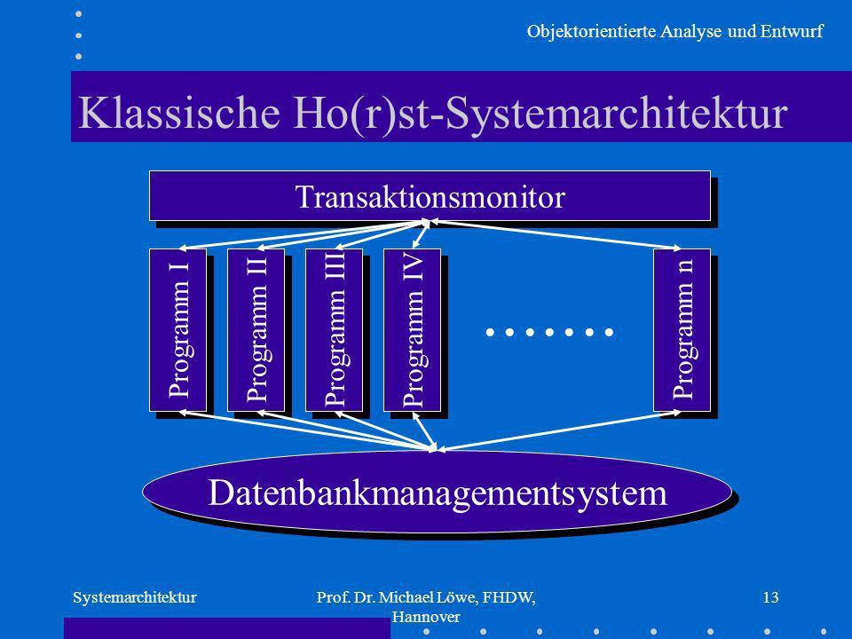 Objektorientierte Analyse und Entwurf SystemarchitekturProf. Dr. Michael Löwe, FHDW, Hannover 13 Klassische Ho(r)st-Systemarchitektur Datenbankmanagem
