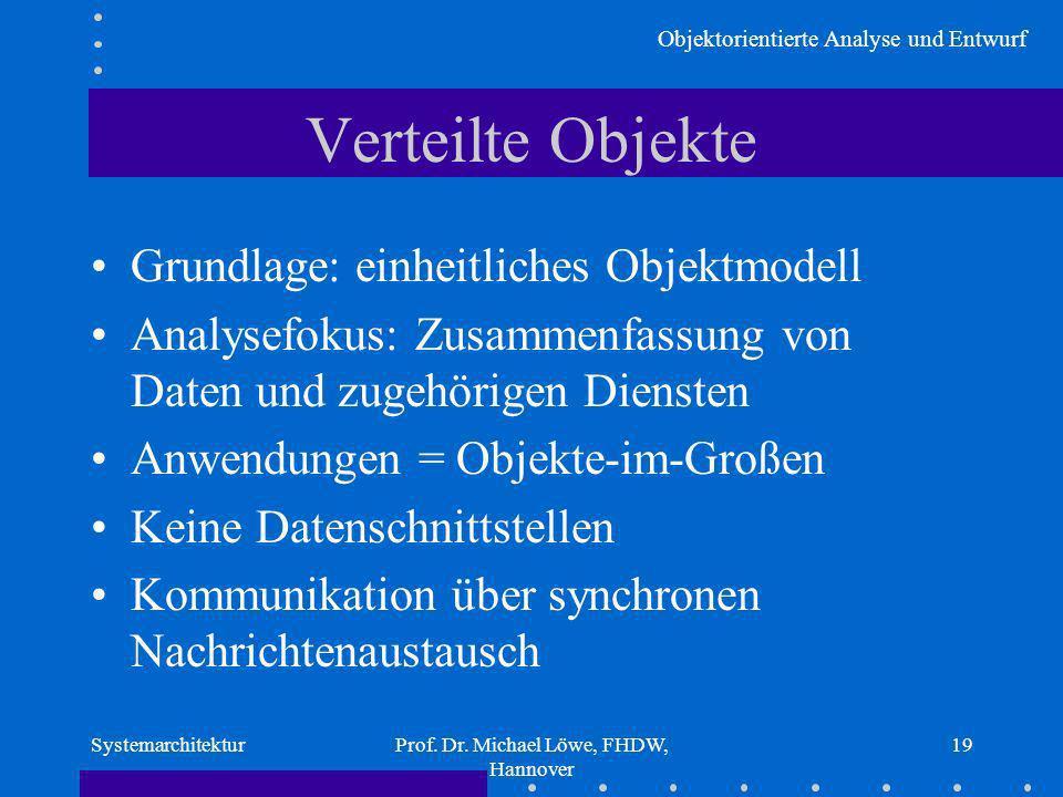 Objektorientierte Analyse und Entwurf SystemarchitekturProf. Dr. Michael Löwe, FHDW, Hannover 19 Verteilte Objekte Grundlage: einheitliches Objektmode