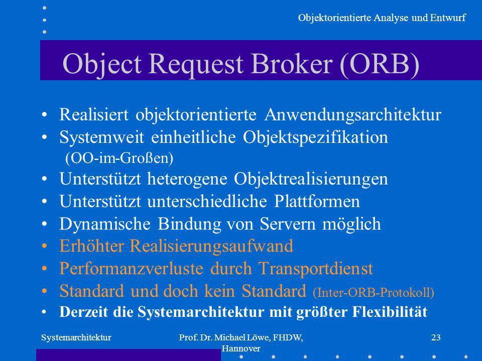 Objektorientierte Analyse und Entwurf SystemarchitekturProf. Dr. Michael Löwe, FHDW, Hannover 23 Object Request Broker (ORB) Realisiert objektorientie