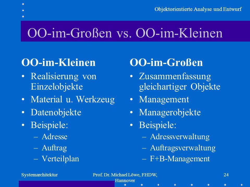 Objektorientierte Analyse und Entwurf SystemarchitekturProf. Dr. Michael Löwe, FHDW, Hannover 24 OO-im-Großen vs. OO-im-Kleinen OO-im-Kleinen Realisie