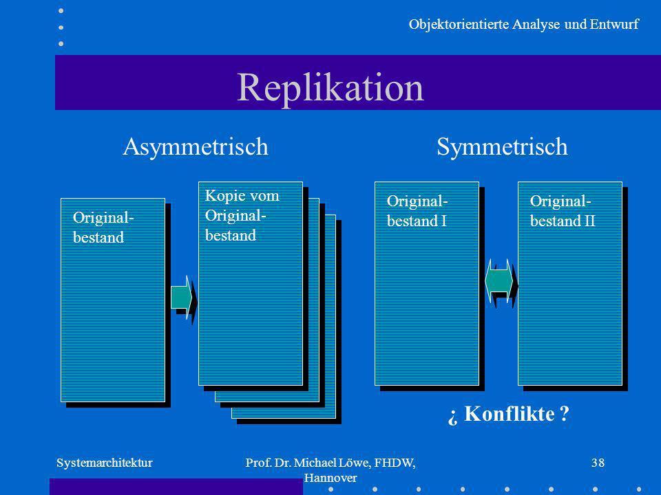 Objektorientierte Analyse und Entwurf SystemarchitekturProf. Dr. Michael Löwe, FHDW, Hannover 38 Replikation Asymmetrisch Original- bestand Kopie vom