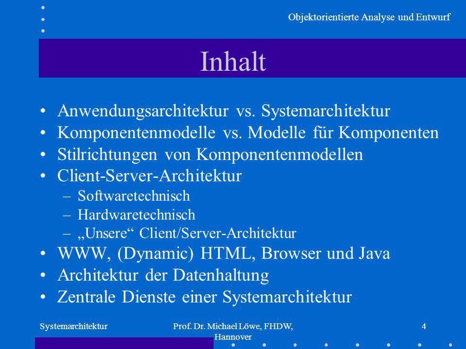 Objektorientierte Analyse und Entwurf SystemarchitekturProf. Dr. Michael Löwe, FHDW, Hannover 4 Inhalt Anwendungsarchitektur vs. Systemarchitektur Kom