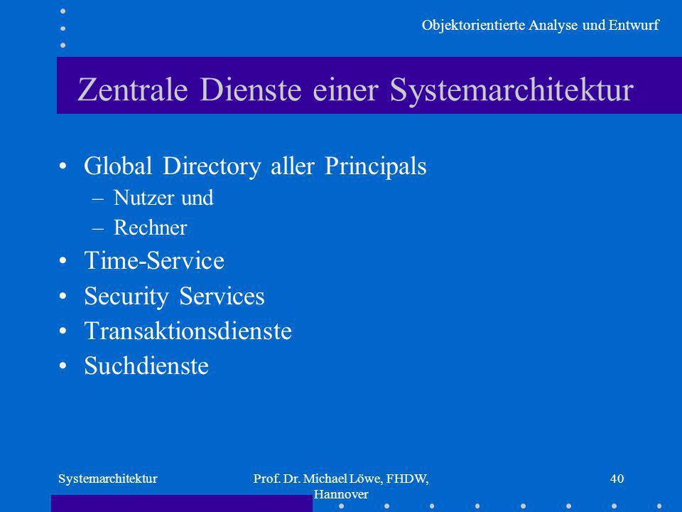 Objektorientierte Analyse und Entwurf SystemarchitekturProf. Dr. Michael Löwe, FHDW, Hannover 40 Zentrale Dienste einer Systemarchitektur Global Direc
