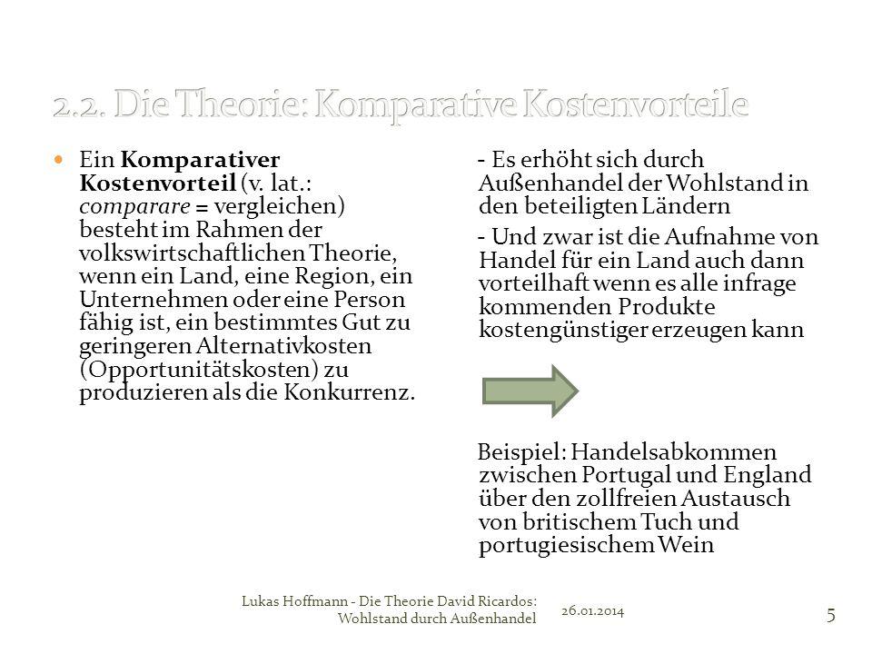 Ein Komparativer Kostenvorteil (v. lat.: comparare = vergleichen) besteht im Rahmen der volkswirtschaftlichen Theorie, wenn ein Land, eine Region, ein