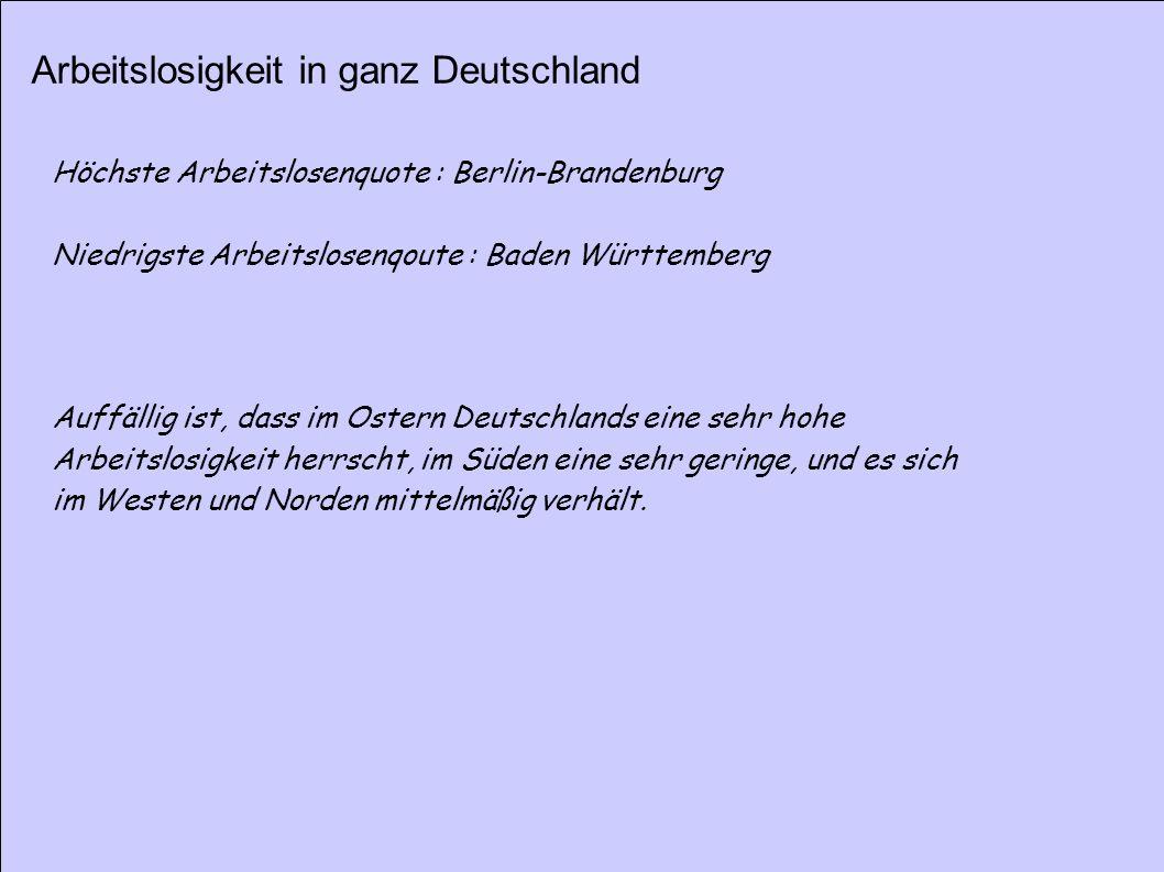 Arbeitslosigkeit in ganz Deutschland Höchste Arbeitslosenquote : Berlin-Brandenburg Niedrigste Arbeitslosenqoute : Baden Württemberg Auffällig ist, da