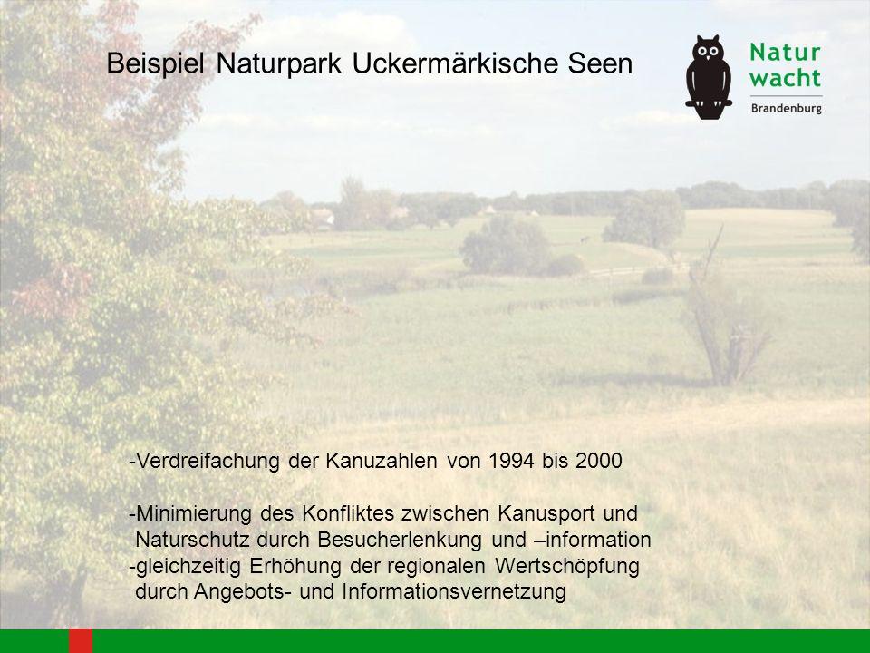 -Verdreifachung der Kanuzahlen von 1994 bis 2000 -Minimierung des Konfliktes zwischen Kanusport und Naturschutz durch Besucherlenkung und –information
