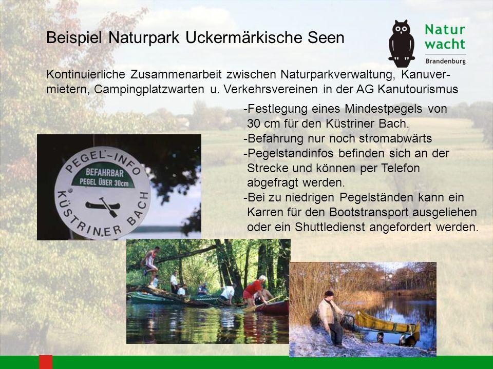 Kontinuierliche Zusammenarbeit zwischen Naturparkverwaltung, Kanuver- mietern, Campingplatzwarten u. Verkehrsvereinen in der AG Kanutourismus -Festleg