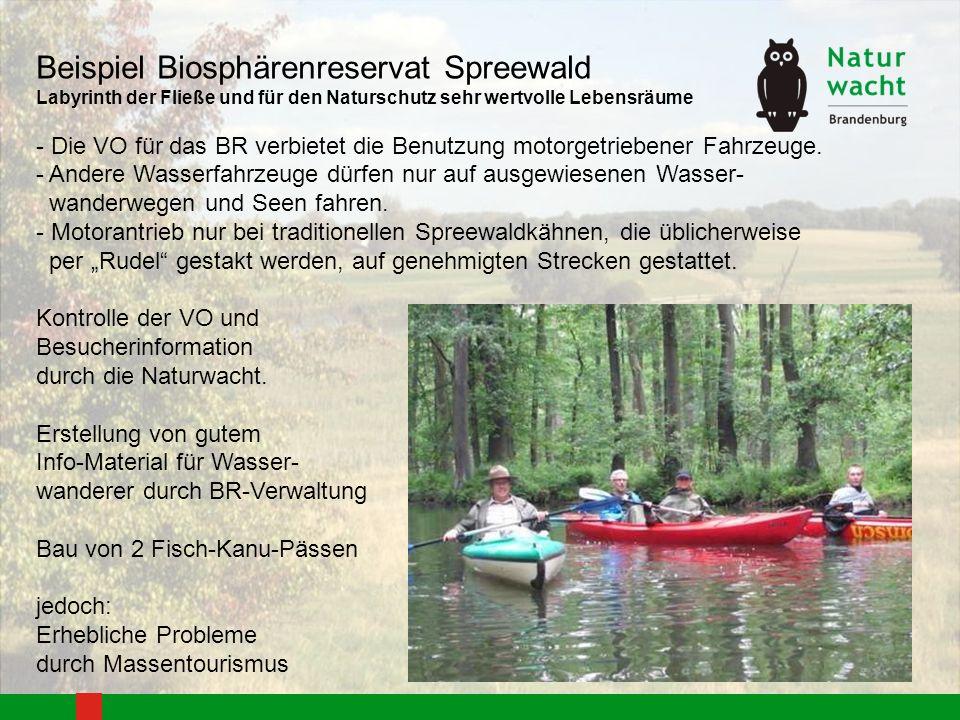 Beispiel Biosphärenreservat Spreewald Labyrinth der Fließe und für den Naturschutz sehr wertvolle Lebensräume - Die VO für das BR verbietet die Benutz