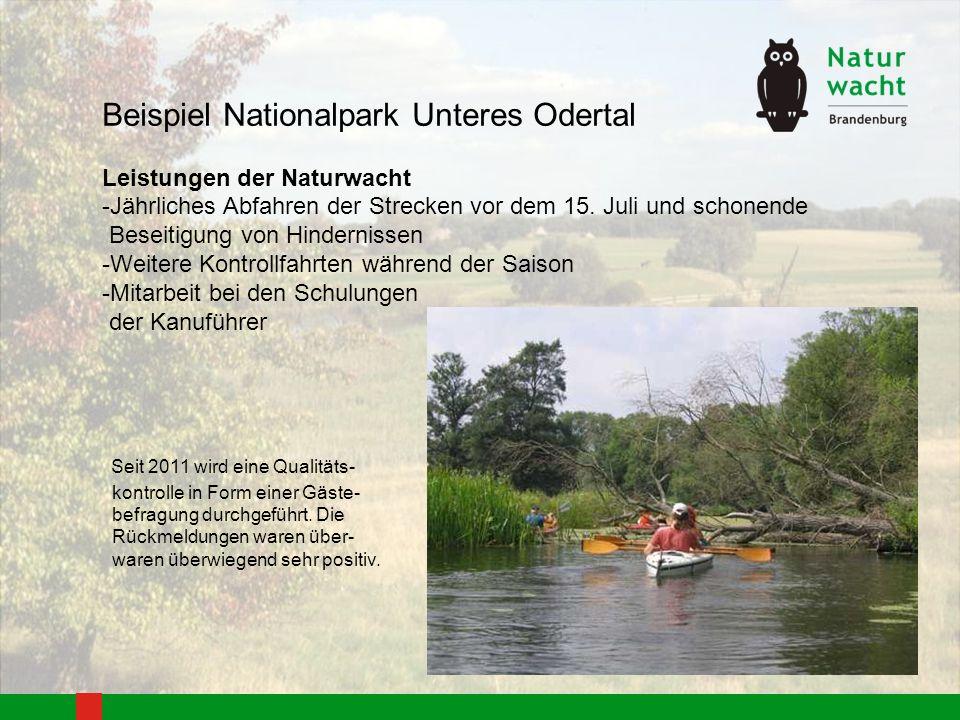 Beispiel Nationalpark Unteres Odertal Leistungen der Naturwacht -Jährliches Abfahren der Strecken vor dem 15. Juli und schonende Beseitigung von Hinde