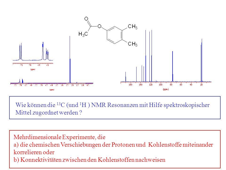 Wie können die 13 C (und 1 H ) NMR Resonanzen mit Hilfe spektroskopischer Mittel zugordnet werden ? Mehrdimensionale Experimente, die a) die chemische