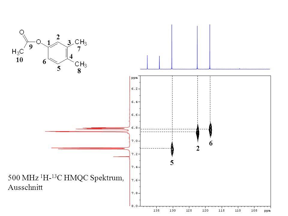 500 MHz 1 H- 13 C HMQC Spektrum, Ausschnitt CH 3 - Resonanzen => Zuordnung nicht möglich 1 2 3 4 5 6 10 9 8 7