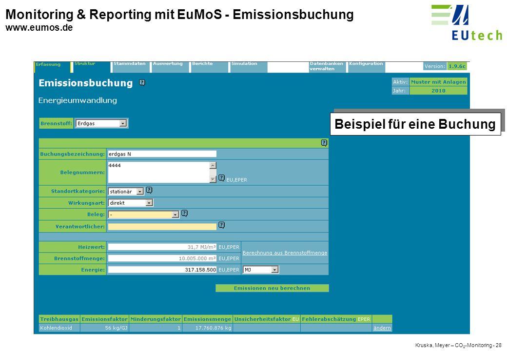 Kruska, Meyer – CO 2 -Monitoring - 27 Monitoring & Reporting mit EuMoS - Struktur www.eumos.de Beispiel für die Struktur
