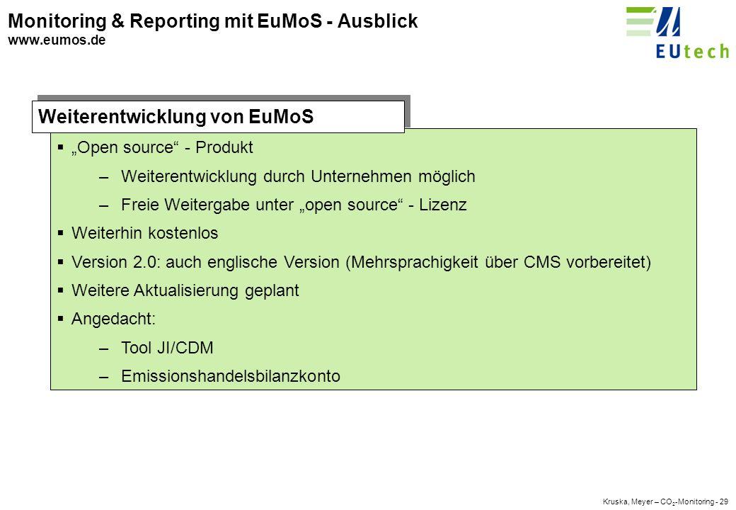 Kruska, Meyer – CO 2 -Monitoring - 28 Monitoring & Reporting mit EuMoS - Emissionsbuchung www.eumos.de Beispiel für eine Buchung