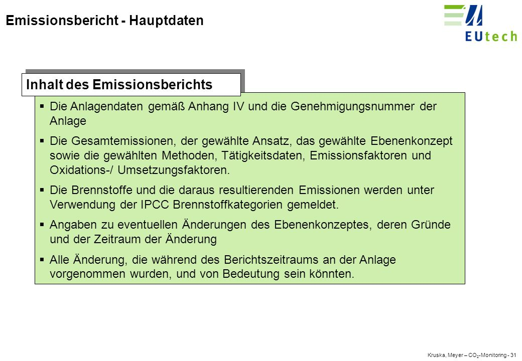 Kruska, Meyer – CO 2 -Monitoring - 30 Gliederung Einleitung Monitoring-Methodik Monitoringsystem Emissionsbericht Fazit - die nächsten Schritte