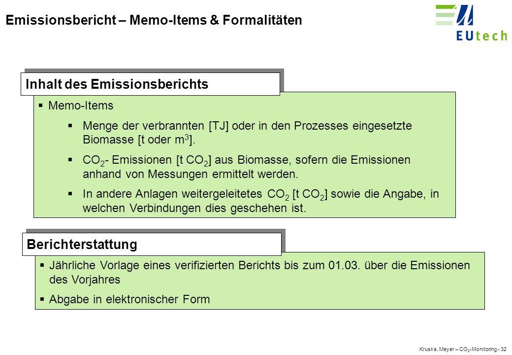 Kruska, Meyer – CO 2 -Monitoring - 31 Emissionsbericht - Hauptdaten Die Anlagendaten gemäß Anhang IV und die Genehmigungsnummer der Anlage Die Gesamtemissionen, der gewählte Ansatz, das gewählte Ebenenkonzept sowie die gewählten Methoden, Tätigkeitsdaten, Emissionsfaktoren und Oxidations-/ Umsetzungsfaktoren.