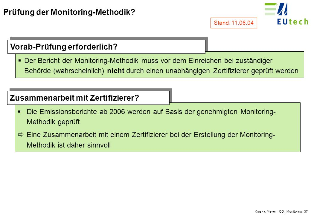 Kruska, Meyer – CO 2 -Monitoring - 36 Entwicklung einer Monitoring-Methodik 1.
