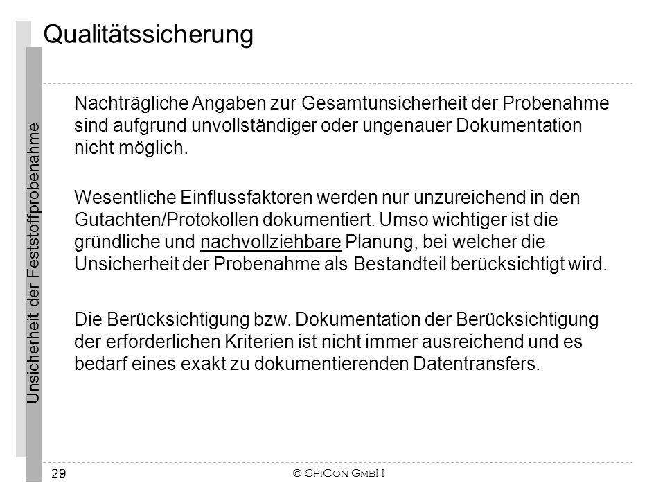 Unsicherheit der Feststoffprobenahme © SpiCon GmbH 29 Nachträgliche Angaben zur Gesamtunsicherheit der Probenahme sind aufgrund unvollständiger oder u