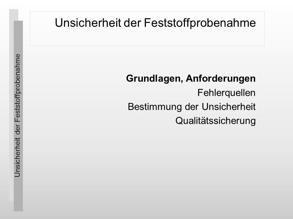 Unsicherheit der Feststoffprobenahme © SpiCon GmbH 4 Grundlagen, Anforderungen