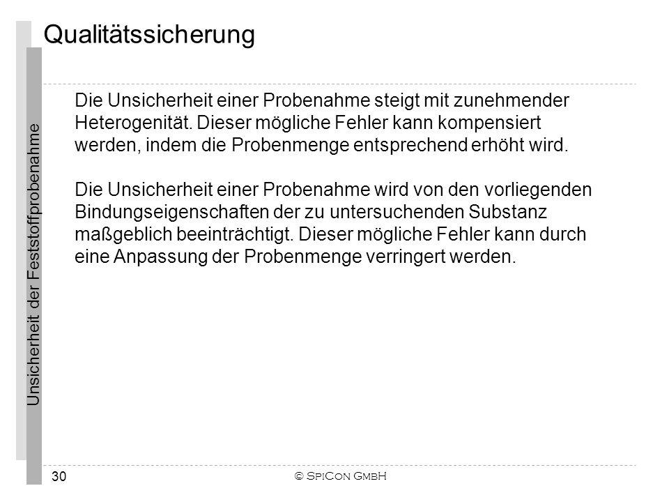 Unsicherheit der Feststoffprobenahme © SpiCon GmbH 30 Qualitätssicherung Die Unsicherheit einer Probenahme steigt mit zunehmender Heterogenität. Diese