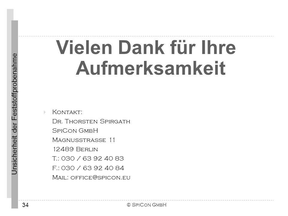 Unsicherheit der Feststoffprobenahme © SpiCon GmbH 34 Vielen Dank für Ihre Aufmerksamkeit Kontakt: Dr. Thorsten Spirgath SpiCon GmbH Magnusstraße 11 1