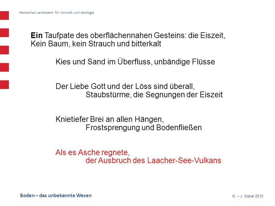 K. – J. Sabel 2010 Hessisches Landesamt für Umwelt und Geologie Ein Taufpate des oberflächennahen Gesteins: die Eiszeit, Kein Baum, kein Strauch und b