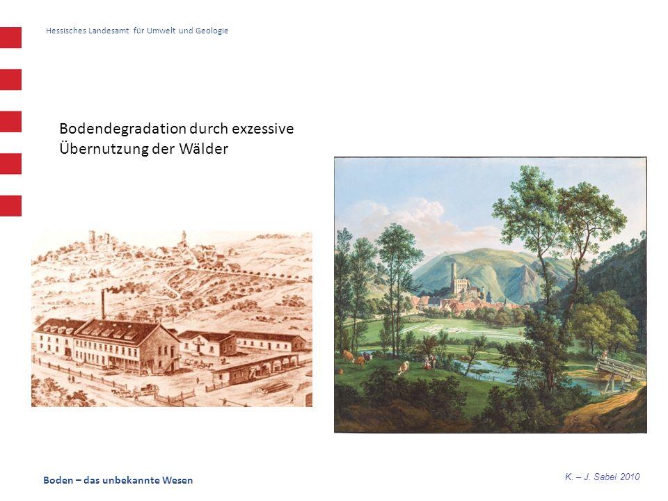 K. – J. Sabel 2010 Hessisches Landesamt für Umwelt und Geologie Boden – das unbekannte Wesen Bodendegradation durch exzessive Übernutzung der Wälder
