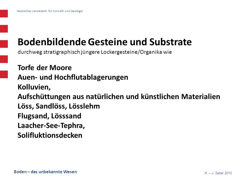 K. – J. Sabel 2010 Hessisches Landesamt für Umwelt und Geologie Bodenbildende Gesteine und Substrate durchweg stratigraphisch jüngere Lockergesteine/O