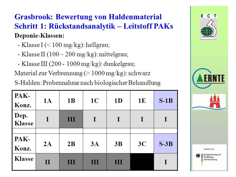 Grasbrook: Bewertung von Haldenmaterial Schritt 1: Rückstandsanalytik – Leitstoff PAKs Deponie-Klassen: - Klasse I ( 1000 mg/kg): schwarz S-Halden: Pr