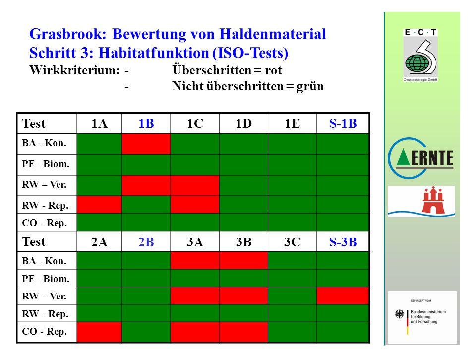 Grasbrook: Bewertung von Haldenmaterial Schritt 3: Habitatfunktion (ISO-Tests) Wirkkriterium:-Überschritten = rot -Nicht überschritten = grün Test 1A1