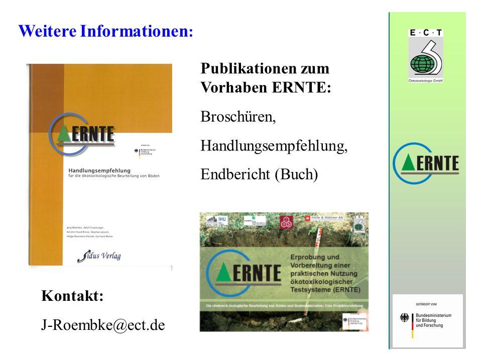Weitere Informationen : Publikationen zum Vorhaben ERNTE: Broschüren, Handlungsempfehlung, Endbericht (Buch) Kontakt: J-Roembke@ect.de