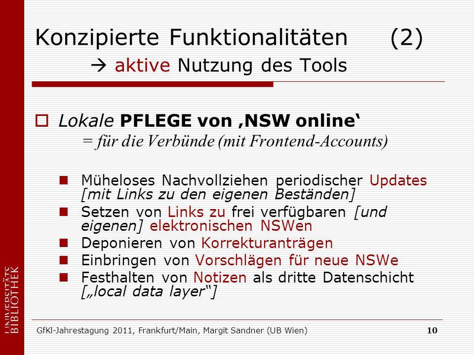 GfKl-Jahrestagung 2011, Frankfurt/Main, Margit Sandner (UB Wien)10 Konzipierte Funktionalitäten (2) aktive Nutzung des Tools Lokale PFLEGE von NSW onl