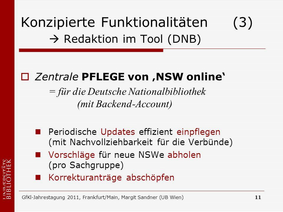 GfKl-Jahrestagung 2011, Frankfurt/Main, Margit Sandner (UB Wien)11 Konzipierte Funktionalitäten (3) Redaktion im Tool (DNB) Zentrale PFLEGE von NSW on