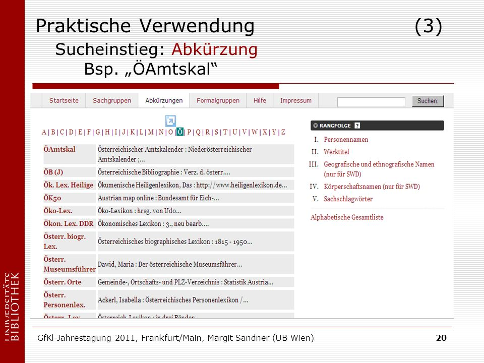 GfKl-Jahrestagung 2011, Frankfurt/Main, Margit Sandner (UB Wien)20 Praktische Verwendung (3) Sucheinstieg: Abkürzung Bsp.