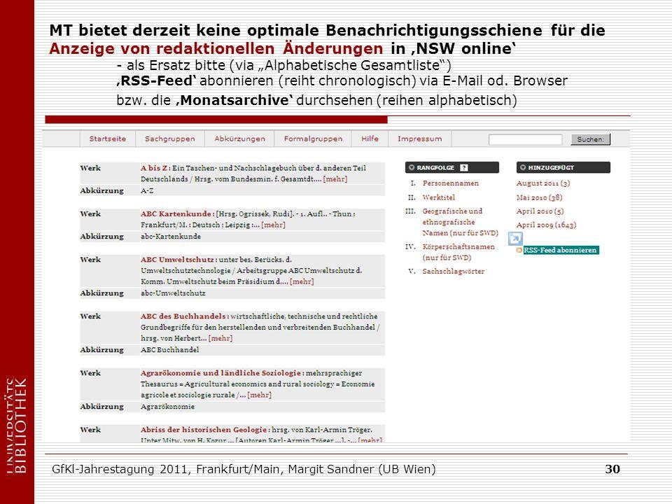 GfKl-Jahrestagung 2011, Frankfurt/Main, Margit Sandner (UB Wien)30 MT bietet derzeit keine optimale Benachrichtigungsschiene für die Anzeige von redaktionellen Änderungen in NSW online - als Ersatz bitte (via Alphabetische Gesamtliste) RSS-Feed abonnieren (reiht chronologisch) via E-Mail od.