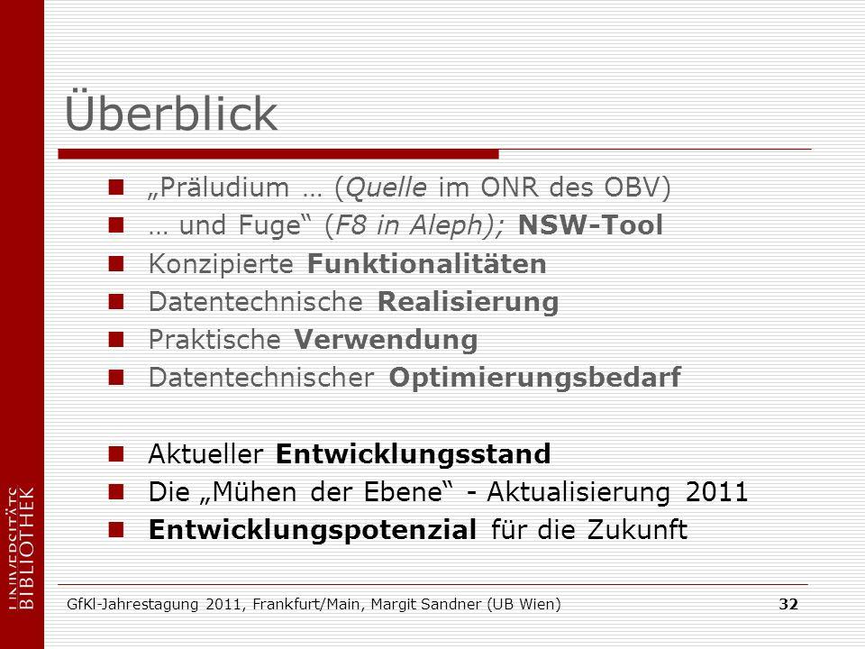 GfKl-Jahrestagung 2011, Frankfurt/Main, Margit Sandner (UB Wien)32 Überblick Präludium … (Quelle im ONR des OBV) … und Fuge (F8 in Aleph); NSW-Tool Ko
