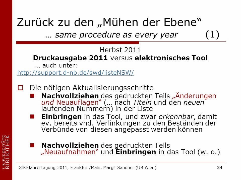 GfKl-Jahrestagung 2011, Frankfurt/Main, Margit Sandner (UB Wien)34 Zurück zu den Mühen der Ebene … same procedure as every year (1) Herbst 2011 Druckausgabe 2011 versus elektronisches Tool...