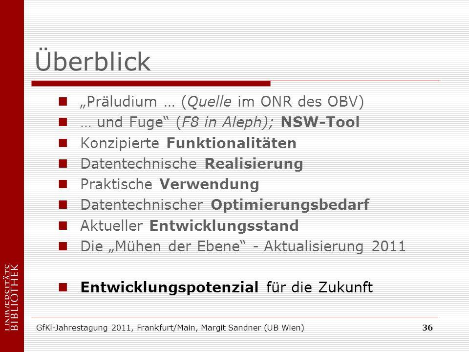 GfKl-Jahrestagung 2011, Frankfurt/Main, Margit Sandner (UB Wien)36 Überblick Präludium … (Quelle im ONR des OBV) … und Fuge (F8 in Aleph); NSW-Tool Ko