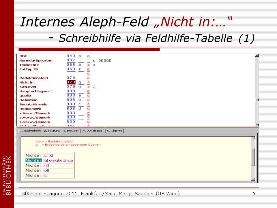 GfKl-Jahrestagung 2011, Frankfurt/Main, Margit Sandner (UB Wien)5 Internes Aleph-Feld Nicht in:… - Schreibhilfe via Feldhilfe-Tabelle (1)