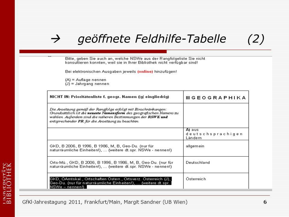 GfKl-Jahrestagung 2011, Frankfurt/Main, Margit Sandner (UB Wien)6 geöffnete Feldhilfe-Tabelle (2)