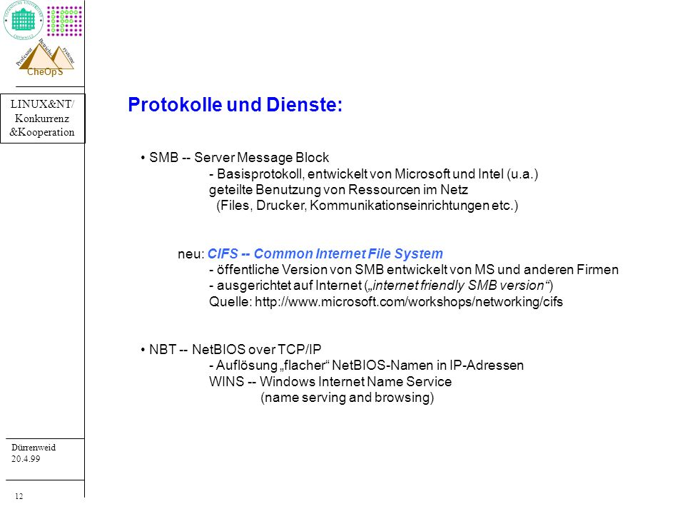 LINUX&NT/ Konkurrenz &Kooperation Dürrenweid 20.4.99 Professur systeme Betriebs- CheOpS 12 Protokolle und Dienste: SMB -- Server Message Block - Basis
