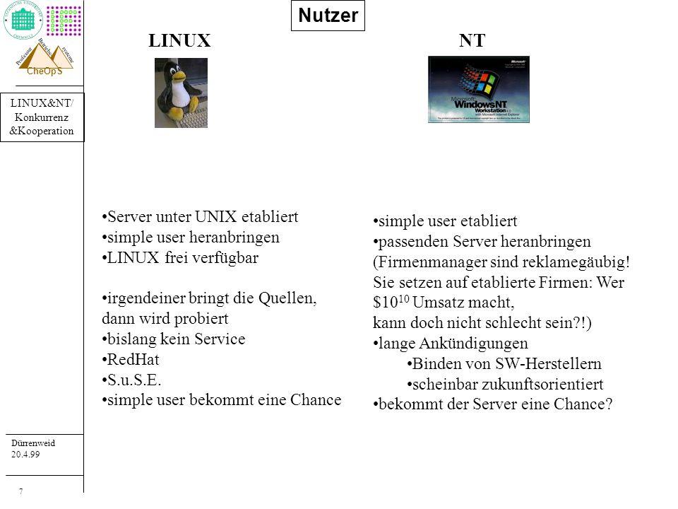 LINUX&NT/ Konkurrenz &Kooperation Dürrenweid 20.4.99 Professur systeme Betriebs- CheOpS 18 Folgerungen LINUXNT heutige HW erlaubt beide Systeme LINUX etabliert sich als stabile kommerzielle Basis beide versuchen, die bisherige andere Klientel zu gewinnen (Konkurrenz) LINUX & NT fehlt (noch?) der Service für Server-Klientel (proprietäre UNIX haben ihn seit langem!) main frame stream bleibt für enterprise (Cluster, NUMA,...) NT und LINUX kooperieren mittels allg.