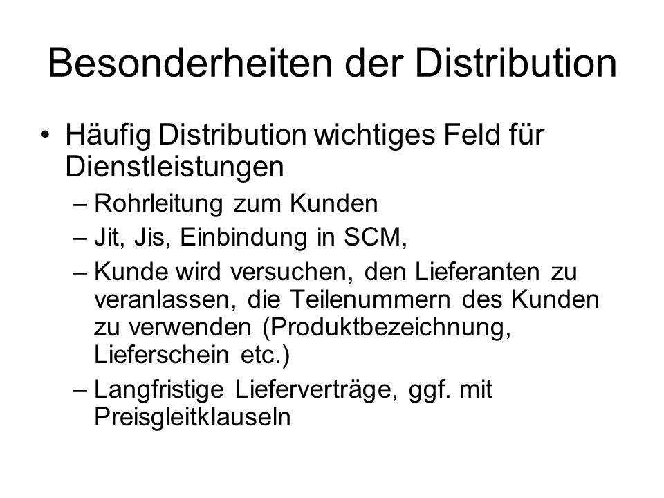 Besonderheiten der Distribution Häufig Distribution wichtiges Feld für Dienstleistungen –Rohrleitung zum Kunden –Jit, Jis, Einbindung in SCM, –Kunde wird versuchen, den Lieferanten zu veranlassen, die Teilenummern des Kunden zu verwenden (Produktbezeichnung, Lieferschein etc.) –Langfristige Lieferverträge, ggf.